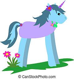 Unicorn Blue with Flowers