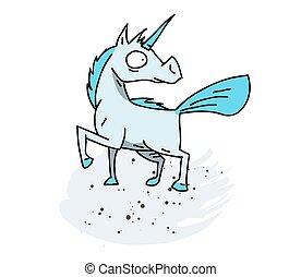 Unicorn cartoon hand drawn image