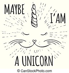 unicorn cat, Funny Hand drawn design for t-shirt or greeting card
