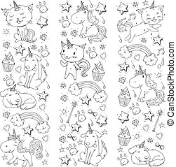 Unicorn. Cats, dog, horse, pony. Vector image. Coloring page for children book. Kindergarten background for banners, clothing, posters.