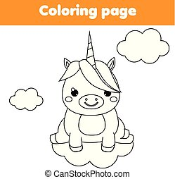 Unicorn coloring page. Educational children game. Drawing kids printable activity.