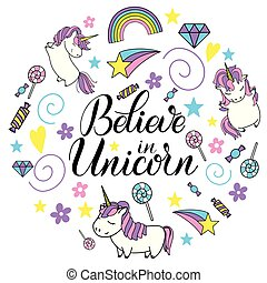 Unicorn cute vector lettering and illustration