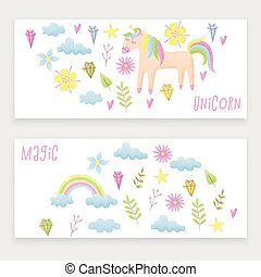 Unicorn design set with clouds and rainbow