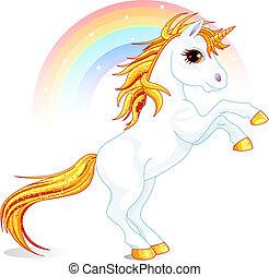 Unicorn - An a vector illustration of rearing up unicorn