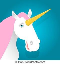 Unicorn fabulous beast with horn. Magic animal with pink mane on blue background