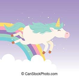 unicorn flying rainbow clouds magical fantasy cartoon cute animal