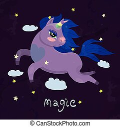 Unicorn flying through the sky among the stars vector image