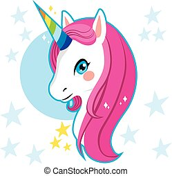 Unicorn Head - Cute magic unicorn head with rainbow horn and...