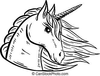 Unicorn head hand drawn illustration isolated on white background. Vector illustration