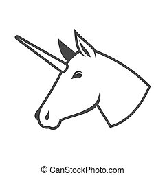 unicorn head logo symbol template on white background