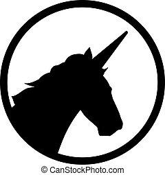 Unicorn head in a circle