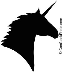 Unicorn head mythical horse in silhouette standing on hind ...