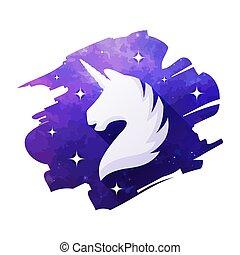 Unicorn head vector illustration isolated on white. Silhouette of a unicorn