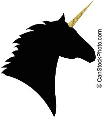 Unicorn head with a golden horn mythical horse in silhouette...