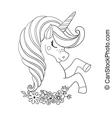 Unicorn head with flowers. Beautiful portrait of a magic horse. Drawing coloring book for a girl, linear sketch for design. Vector doodle illustration isolated on white background.