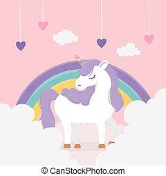 unicorn hearts rainbow clouds fantasy magic dream cute cartoon