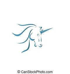 Unicorn Horse Tribal Logo Silhouette. Isolated.