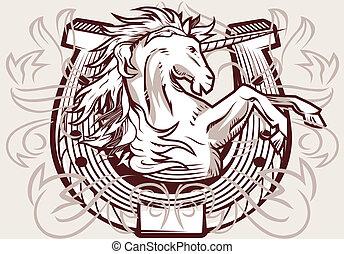 Unicorn Horseshoe Crest - Medieval horseshoe design...