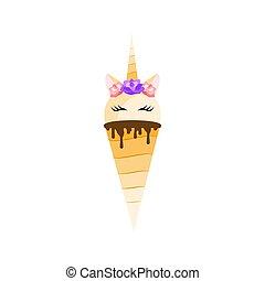 Unicorn ice cream. Icon. Vector illustration. Flat design - ...