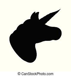 Unicorn icon. Fantasy World of the Unicorn. Black and Simple style. Vector Illustration