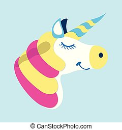 Unicorn icon. Fantasy World of the Unicorn. Cartoon style. Vector Illustration