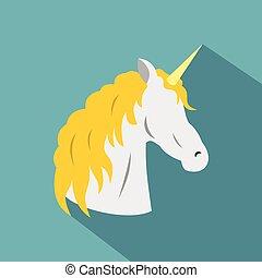 Unicorn icon, flat style