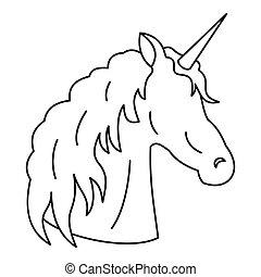 Unicorn icon, outline style