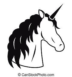 Unicorn icon, simple style