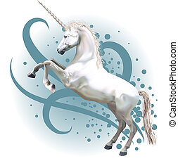 A vector illustration of a unicorn rearing up on its hind legs.
