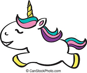 Unicorn, illustration, vector on white background.