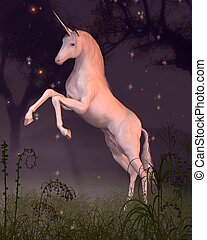 Unicorn in a Moonlit Forest Glade - Rearing unicorn in a...