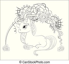 unicorn in flower Coloring book