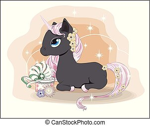 unicorn in flower with gift