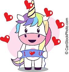 Unicorn in love, illustration, vector on white background.