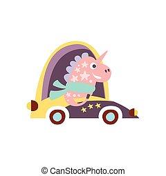 Unicorn In Racing Car Stylized Fantastic Illustration...