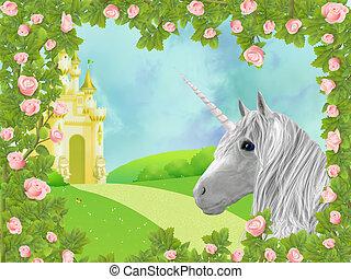 Unicorn in roses - Illustration of unicorn in frame of roses