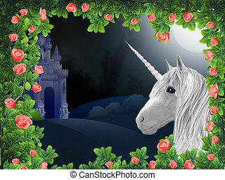 Unicorn in roses - Illustration of unicorn in frame of roses...