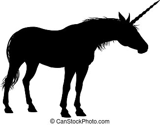 Unicorn mythical horned magical horse in Silhouette