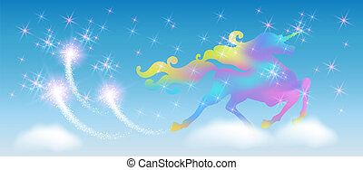 Unicorn in the blue sky with winding mane against the background of the iridescent universe with sparkling stars and firework