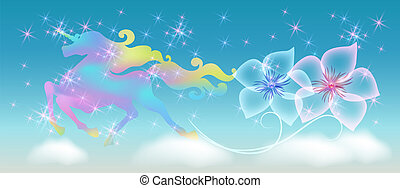 Unicorn in the clouds sky with winding mane against the background of the iridescent universe with sparkling stars and flowers