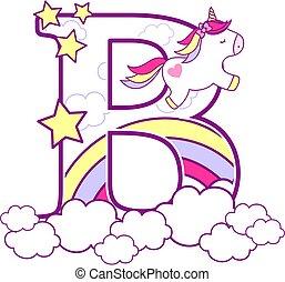 unicorn initial b - initial b with cute unicorn and rainbow...