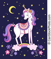 Unicorn is standing on a rainbow on the background of the night sky.