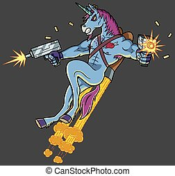 Unicorn killer character shooting with Uzi guns.