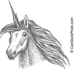 Unicorn magic horse head sketch