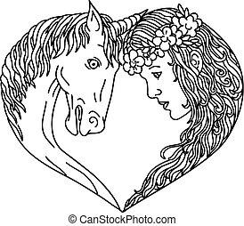 unicorn-maiden-heart-shape-dwg