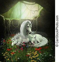Unicorn Mare and Foal - A Unicorn mother guards her foal as...