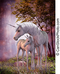 Unicorn Mare and Foal - A white unicorn doe and fawn spend...