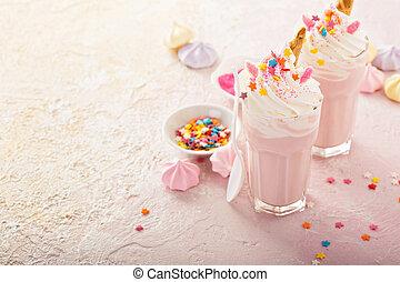 Unicorn milkshakes with sprinkles - Pink unicorn milkshakes...