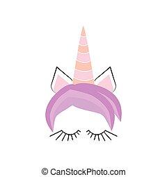 Unicorn minimalistic face horn cute sleeping