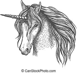 Unicorn mythic horse with horn vector sketch